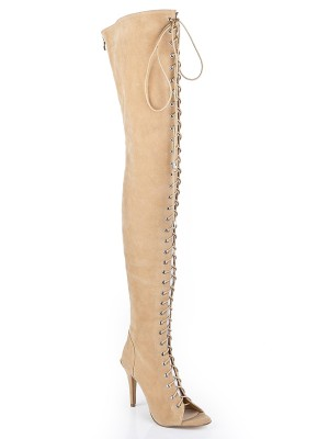 Damen Suede Stiletto-Absatz Peep Toe mit Spitze-up Over The Knee Champagner Stiefel