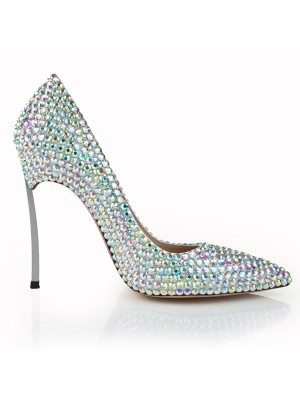 Damen Stiletto-Absatz Closed Toe Patent Leather mit Strasssteine Hohe Schuhe