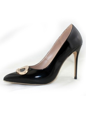 Damen Patent Leather Closed Toe Stiletto-Absatz Office Hohe Schuhe