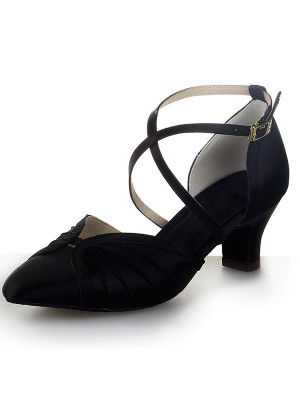 Damen Closed Toe Satin Klobige Ferse Buckle Tanzschuhe