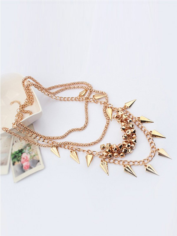 Occident Hyperbolic Stylish Street shooting style Button screw Metallic Multi-layeRot Hot Sale Halsketten