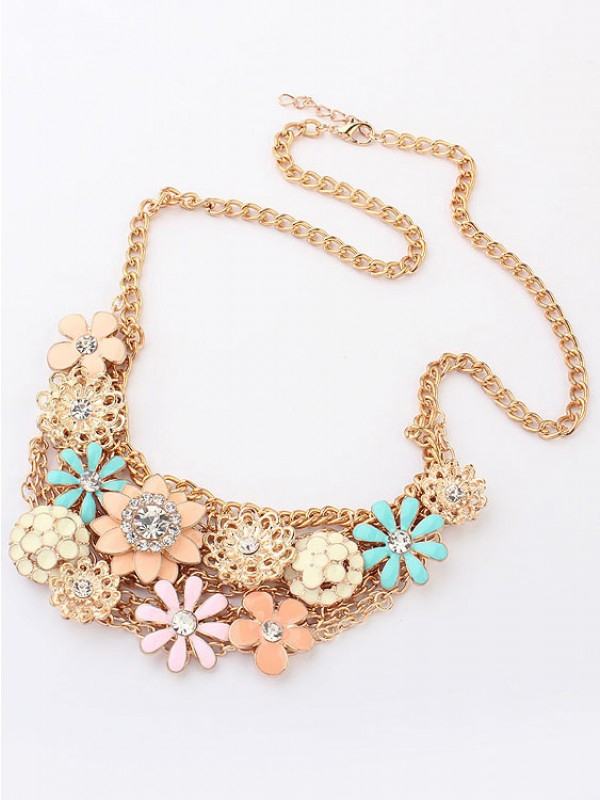 Korean version Sweet Fresh Flowers Metallic Hot Sale Halsketten