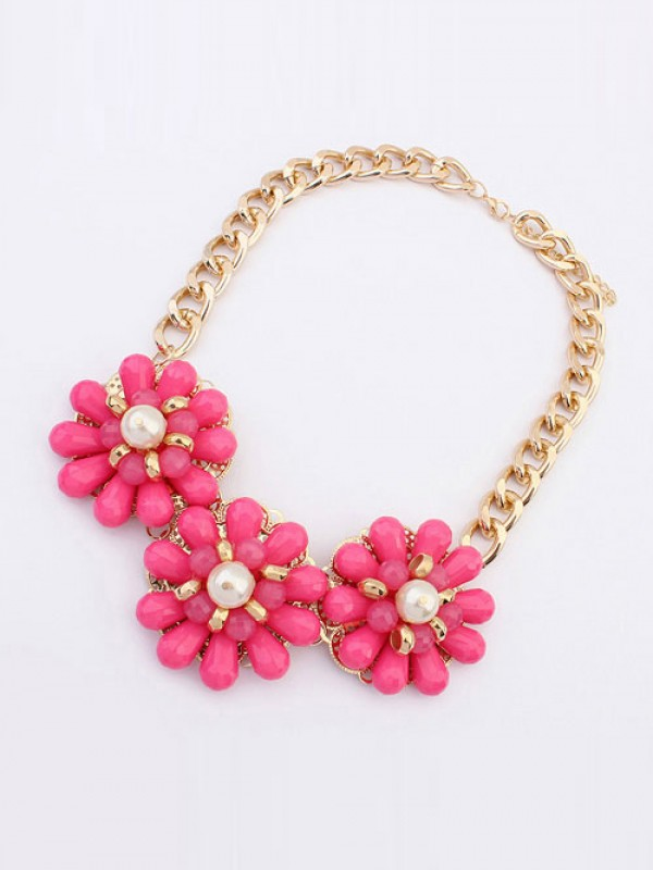 Occident Candy colors Fresh Big Flowers Hot Sale Halsketten