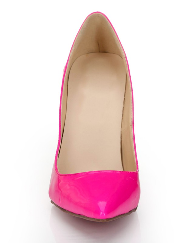 Damen Patent Leather Fuchsia Closed Toe Stiletto-Absatz Hohe Schuhe
