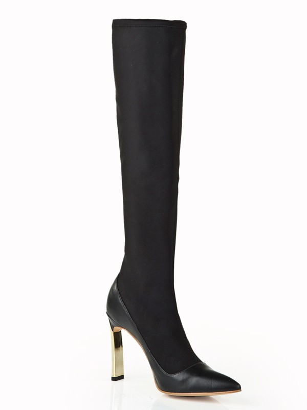 Damen Elastic Leather Stiletto-Absatz mit Perlen Knee High Schwarz Stiefel