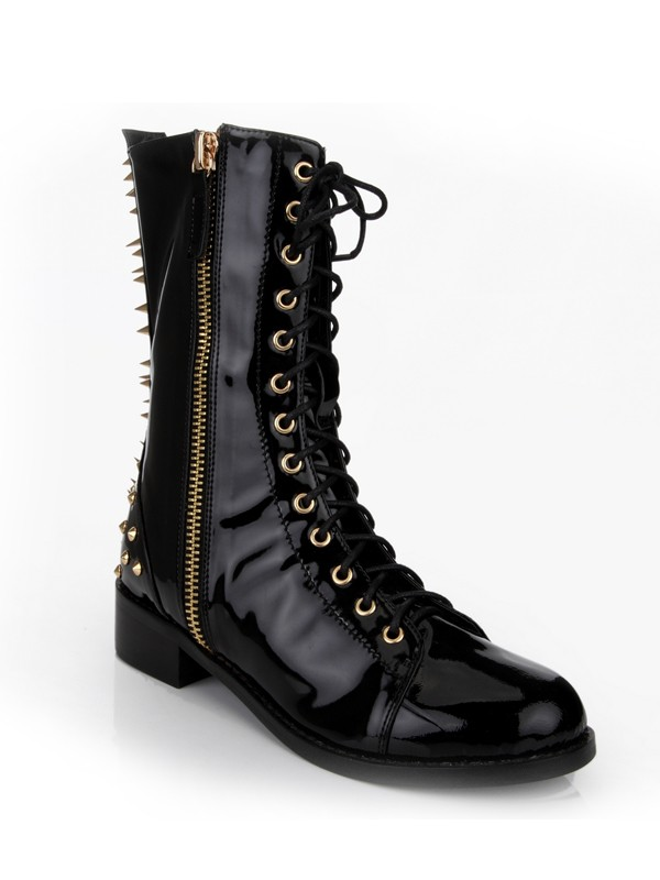 Damen Kätzchen-Ferse Closed Toe Patent Leather mit Rivet Mid-Calf Schwarz Stiefel
