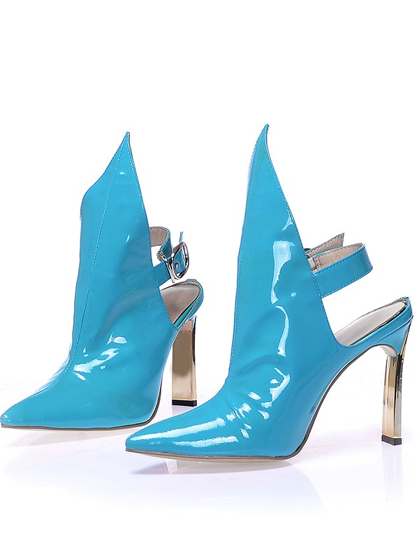 Damen Patent Leather Closed Toe Stiletto-Absatz mit Buckle Booties/Ankle Blau Stiefel