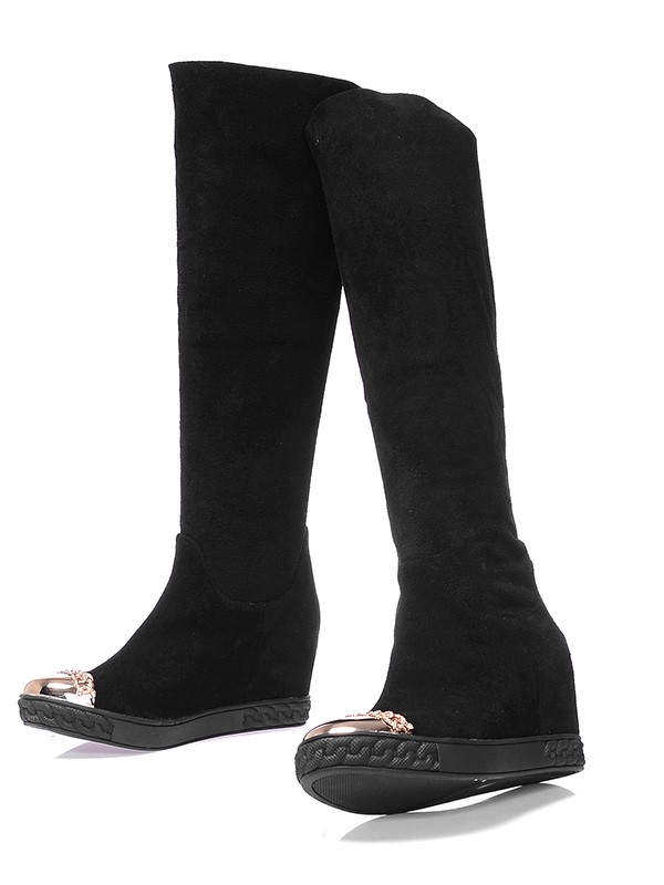Damen Suede Closed Toe Keilabsatz Knee High Schwarz Stiefel
