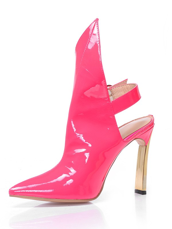 Damen Patent Leather Closed Toe Stiletto-Absatz mit Buckle Ankle Wassermelone Stiefel