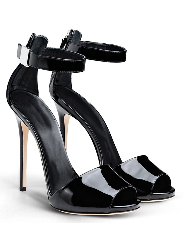 Damen Patent Leather Peep Toe Stiletto-Absatz mit Buckle Sandalenschuhe