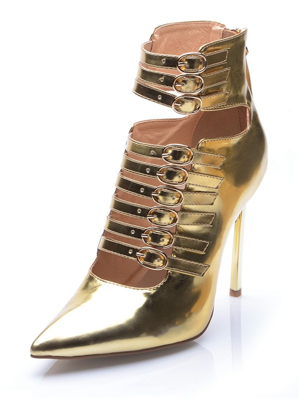 Damen Gold Patent Leather Closed Toe Stiletto-Absatz mit Buckle Ankle Gold Stiefel