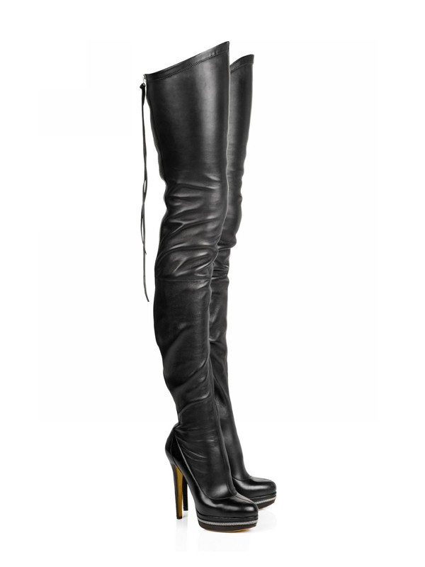 Damen Elastic Leather Stiletto-Absatz Platform Over The Knee Schwarz Stiefel