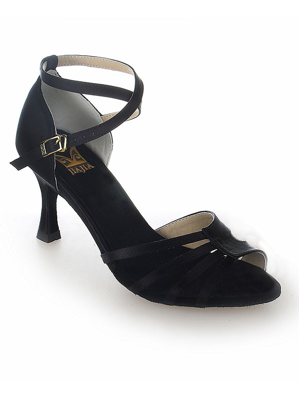 Damen Peep Toe Satin Stiletto-Absatz Buckle Tanzschuhe