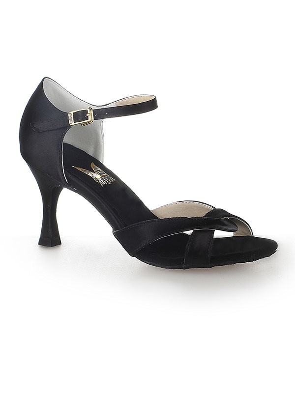 Damen Satin Peep Toe Stiletto-Absatz Buckle Tanzschuhe