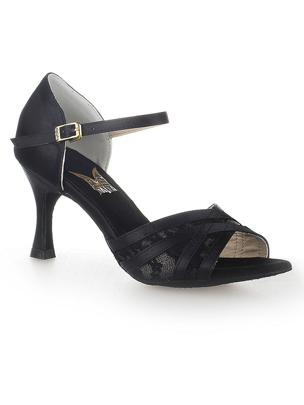 Damen Peep Toe Stiletto-Absatz Satin Buckle Tanzschuhe