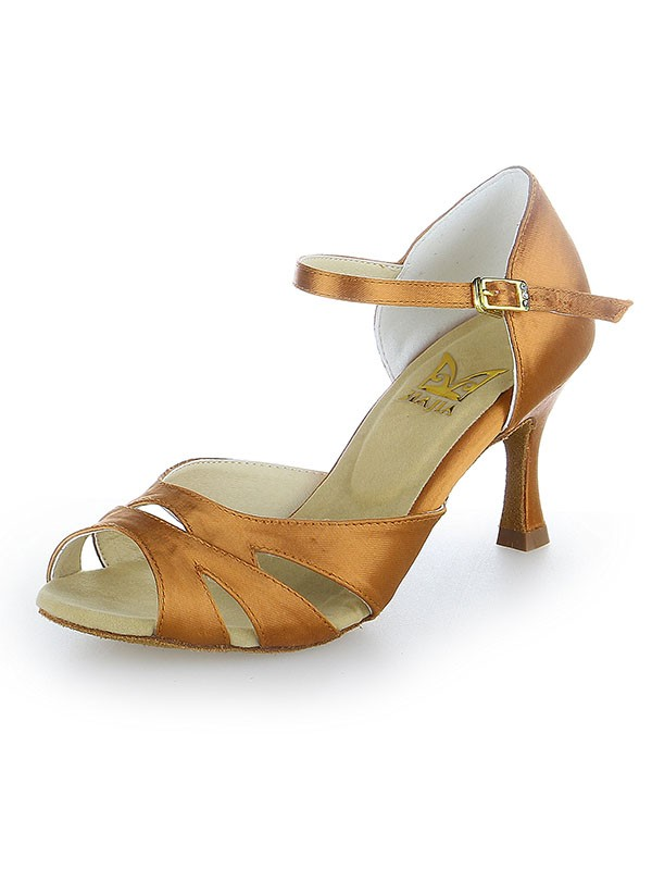 Damen Peep Toe Buckle Satin Stiletto-Absatz Tanzschuhe