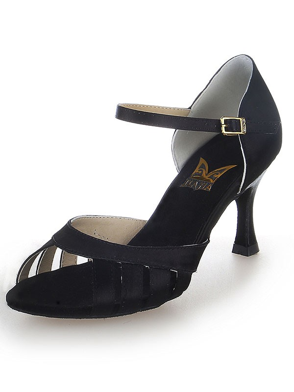 Damen Satin Peep Toe Buckle Stiletto-Absatz Tanzschuhe